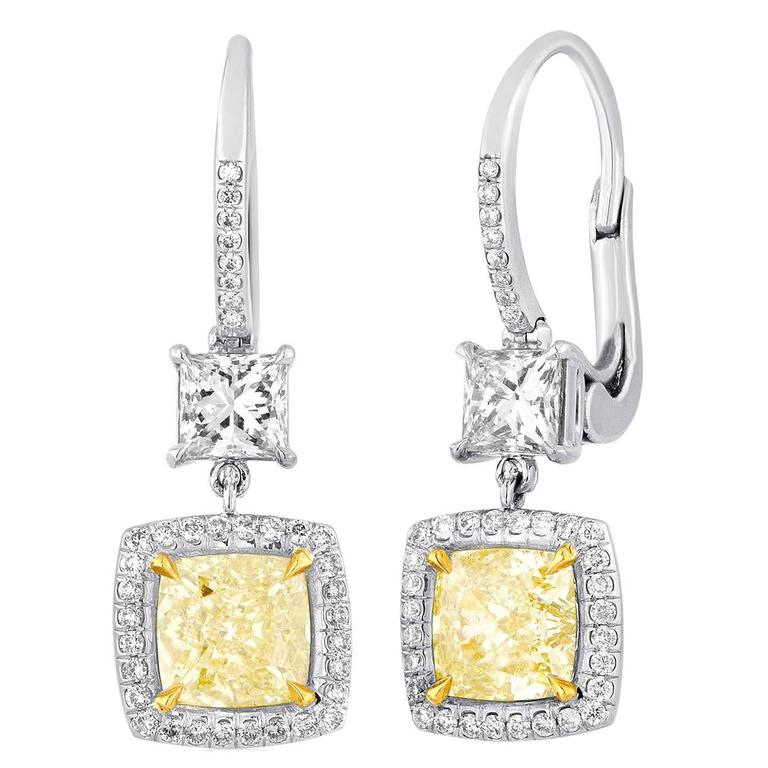 GIA Certified 2.23 Carat Y-Z Princess Cut Diamond Dangle Earrings