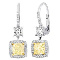 GIA Certified 2.23 Carat Y-Z Princess Cut Diamond Dangle Earrings