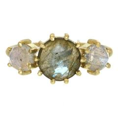 Labradorite Gold Three Stone Ring
