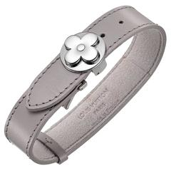 Louis Vuitton Leather and Steel Flower Logo Cuff Bracelet