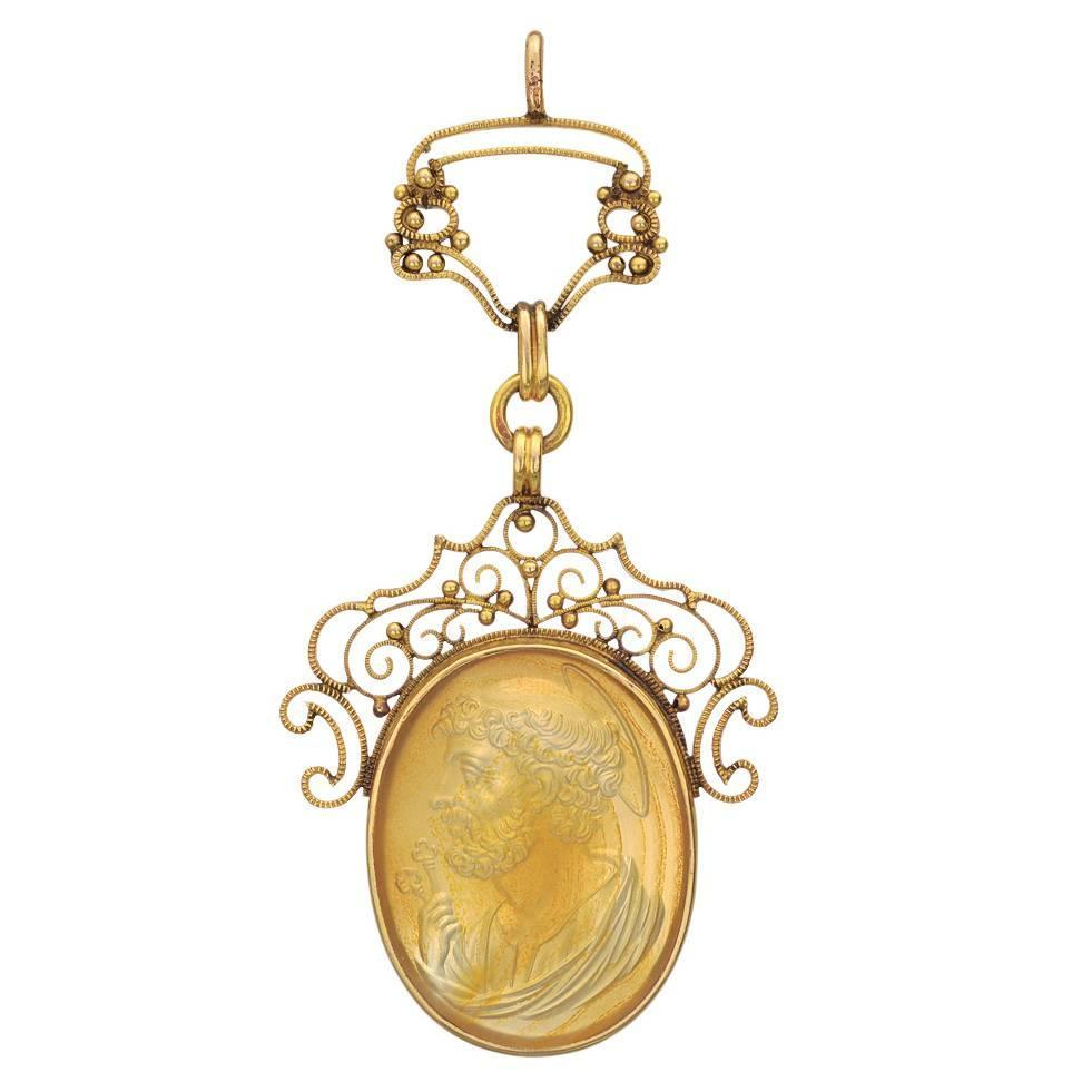 antique agate gold cameo pendant at 1stdibs