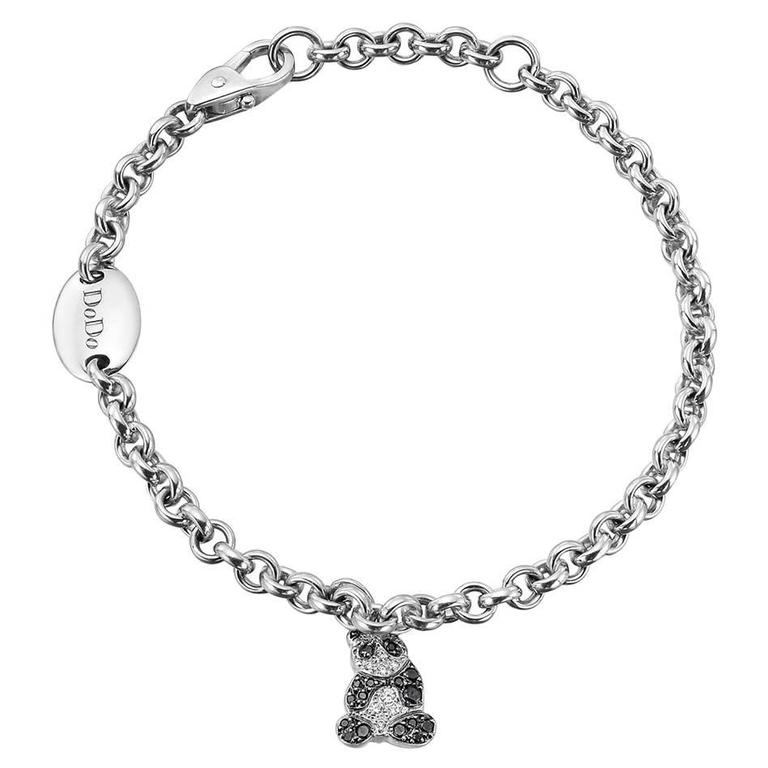 Dodo Pavé Diamond Gold Panda Charm Bracelet For