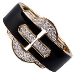 1970s David Webb Black Enamel Diamond Gold Cuff Bracelet