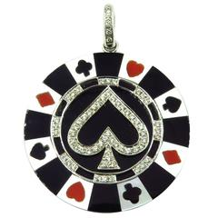 Lucky Charm Onyx Coral Mother of Pearl Diamond Gold Casino Chip Pendant Charm
