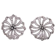 Diamond Platinum Ribbon Earrings