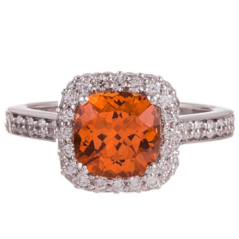 2 68 Carat Spessartite Garnet Diamond Gold Ring at 1stdibs