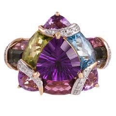 Contemporary Gemstone Diamond Gold Mosaic Ring