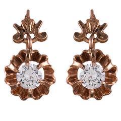Victorian Diamond Gold Drop Earrings
