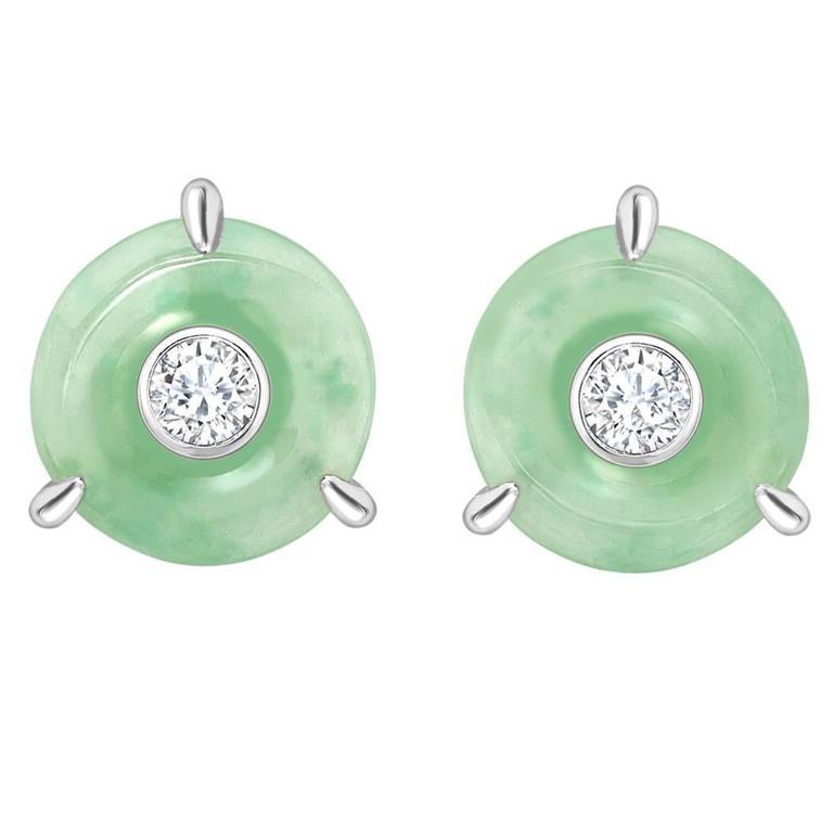 Ana De Costa White Gold Green Jade Round White Diamond Circular Stud Earrings
