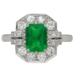 Art Deco emerald diamond Platinum Engagement ring