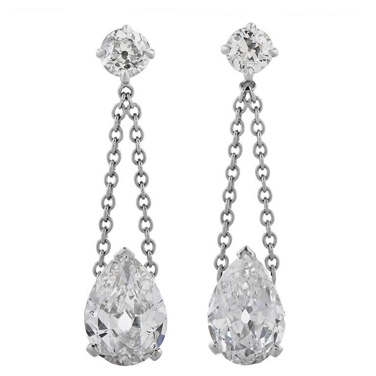 Diamond Platinum Drop Ear Pendants 1