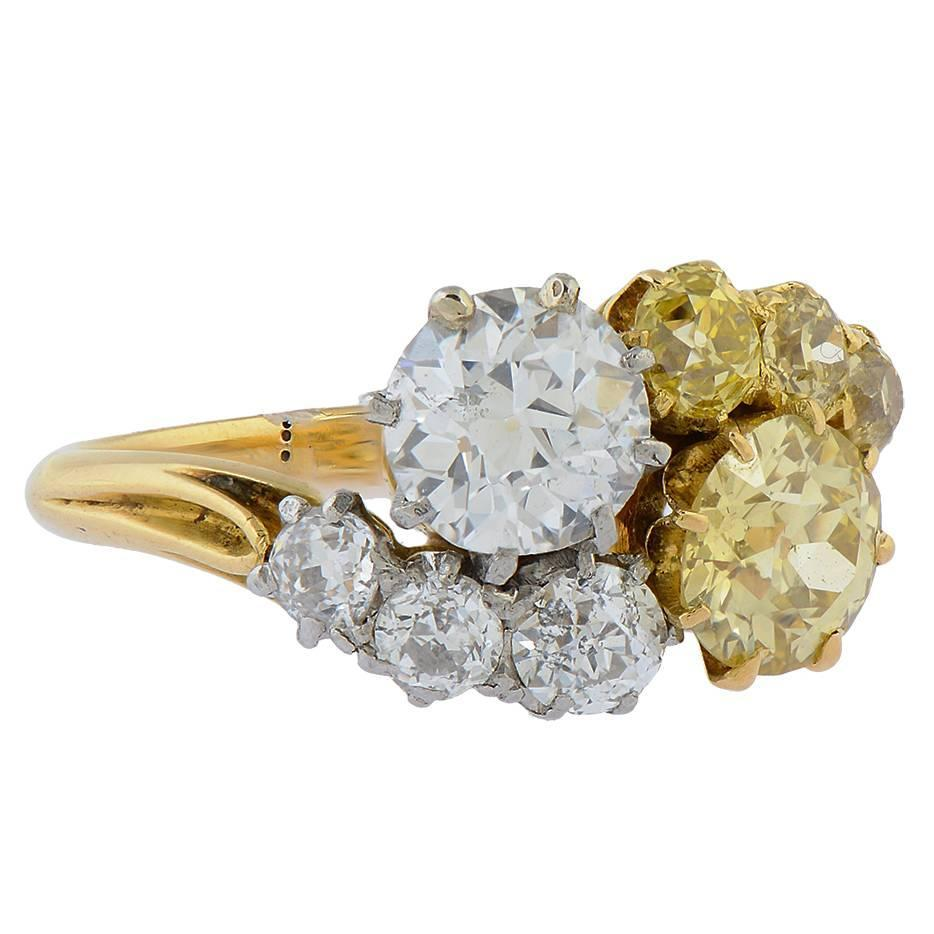 Fancy Yellow Diamond and White Diamond Gold Crossover Ring For Sale at 1stdibs