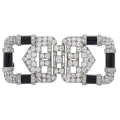 Circa 1920 Chaumet Art Deco Onyx Diamond Platinum Brooch