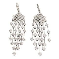 """16.5 Carat Diamond 18k Gold """"Red Carpet""""  Chandelier Dangling Earrings"""