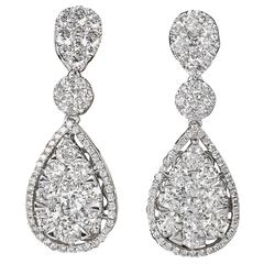 Illusion Diamond Gold Drop Earrings