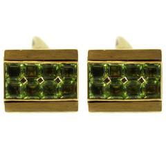 Peridot Yellow Gold Reversible Cufflinks