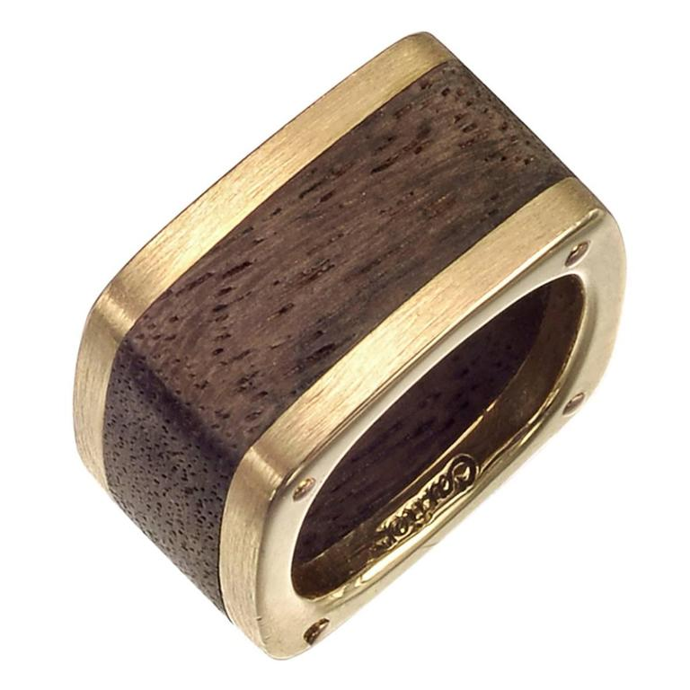 Cartier Gold Wood Dinh Van Band Ring For Sale at 1stdibs
