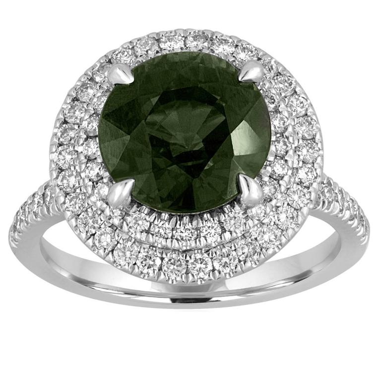Certified No Heat 5.27 Carat Bluish Green Sapphire Double Halo Diamond Ring