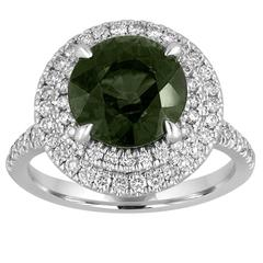 Certified No Heat 5.27 Carat Green Sapphire Double Halo Diamond Ring