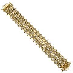Diamond Gold Flower Mesh Bracelet