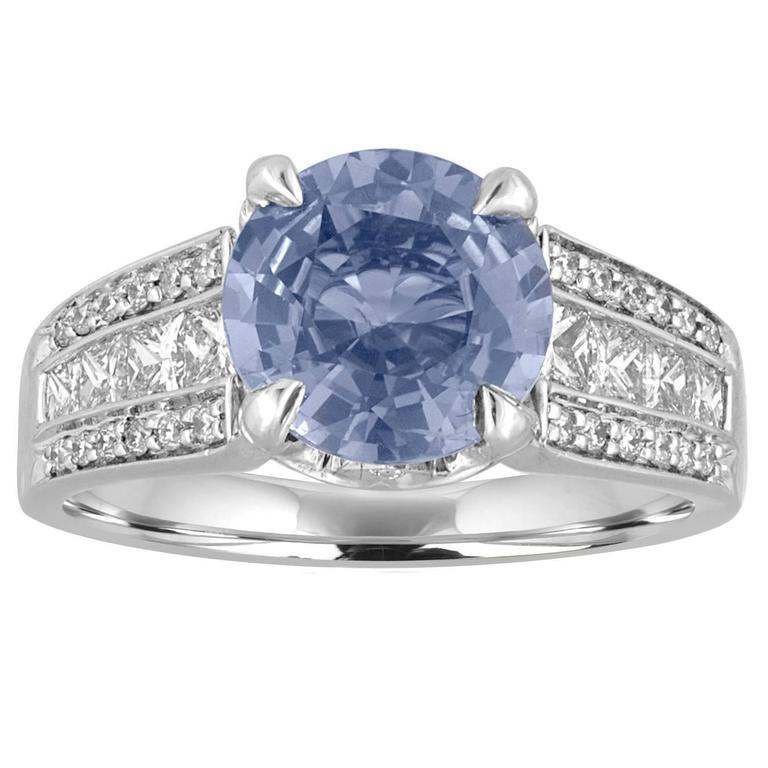 Certified No Heat 3.02 Carat Blue Sapphire and Diamond Ring