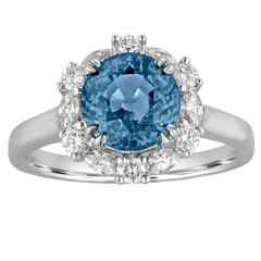 Certified No Heat 2.97 Carat Blue Sapphire Halo Diamond Ring