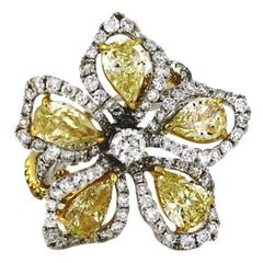 Diamond Two Color Gold Flower Cocktail Ring