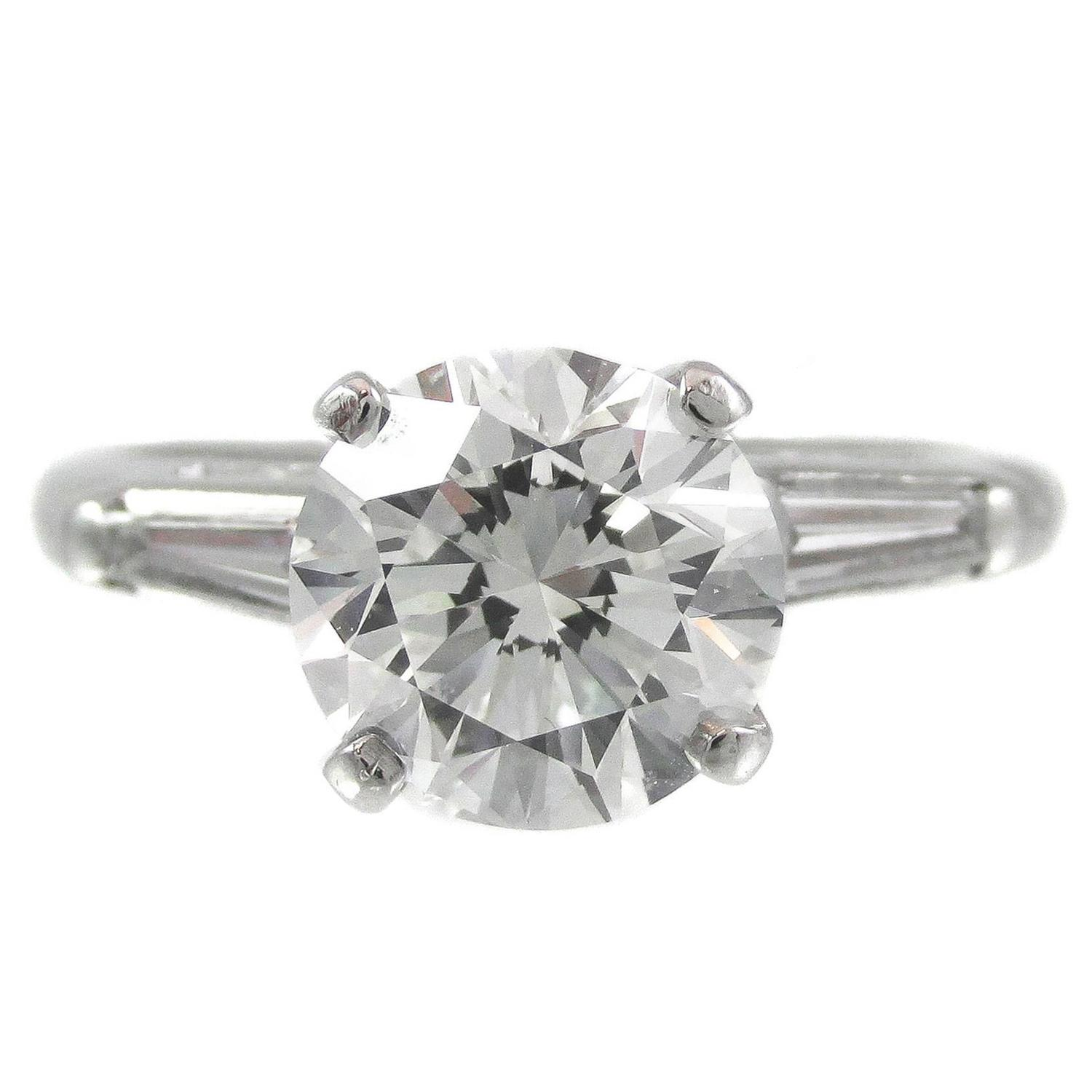 Two Carat Round Brilliant And Tapered Baguette Diamond Platinum Ring For  Sale At 1stdibs
