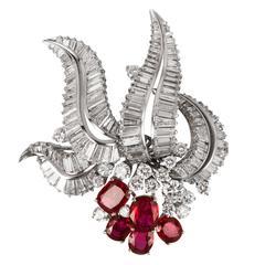 Ruby Diamond platinum Brooch