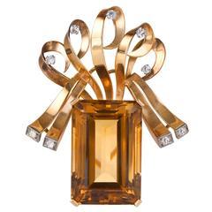 Citrine and Diamond Brooch