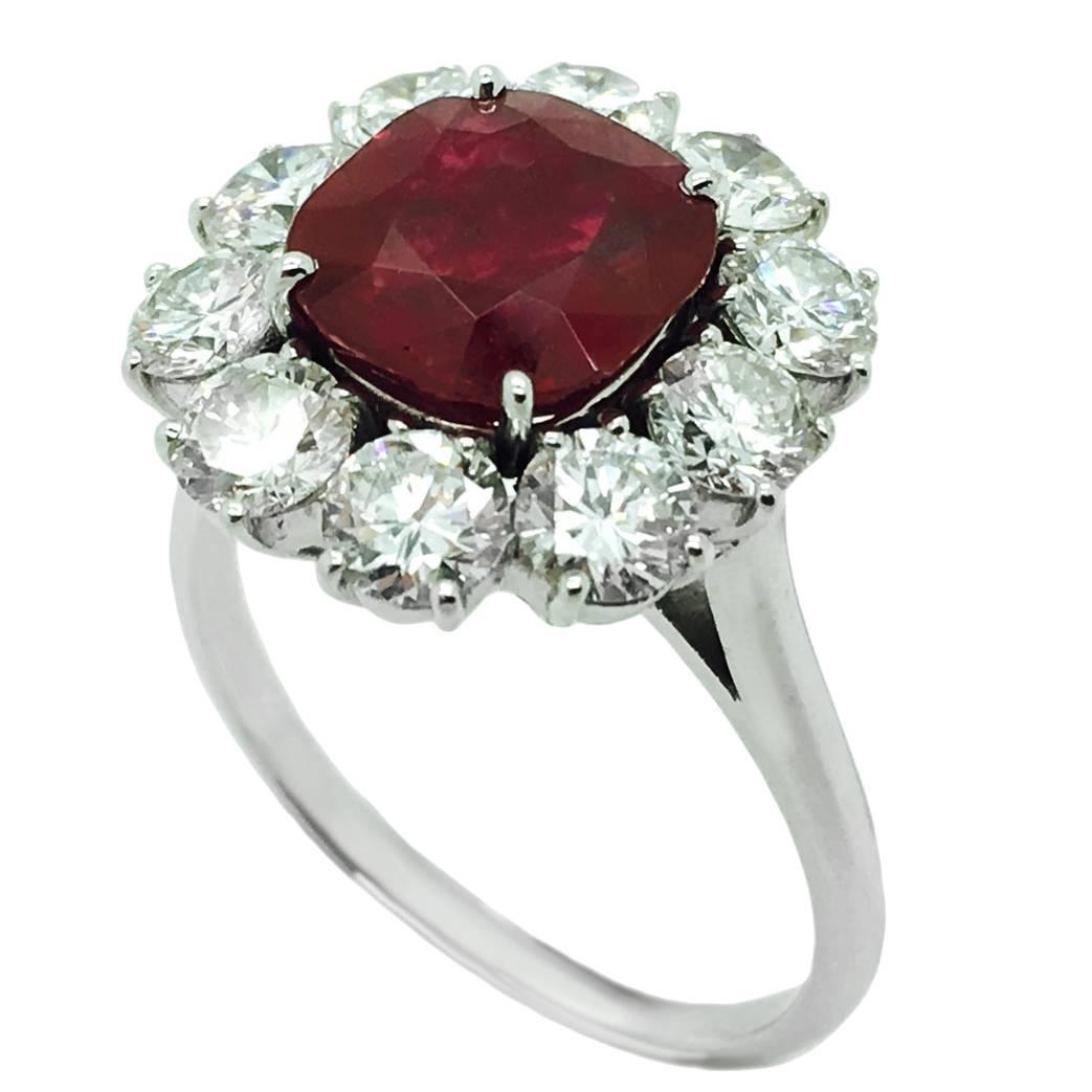 italian ruby and platinum engagement ring at 1stdibs