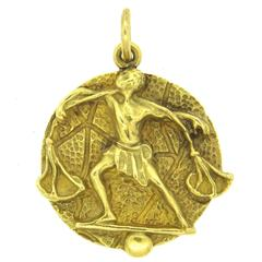 1970s Tiffany & Co Gold Zodiac Sign Libra Pendant