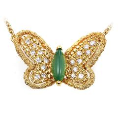 Van Cleef & Arpels Yellow Gold Diamond and Emerald Butterfly Necklace