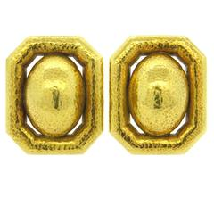 Large David Webb Hammered Gold Earrings