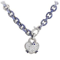 Judith Ripka Sapphire Diamond Gold Necklace