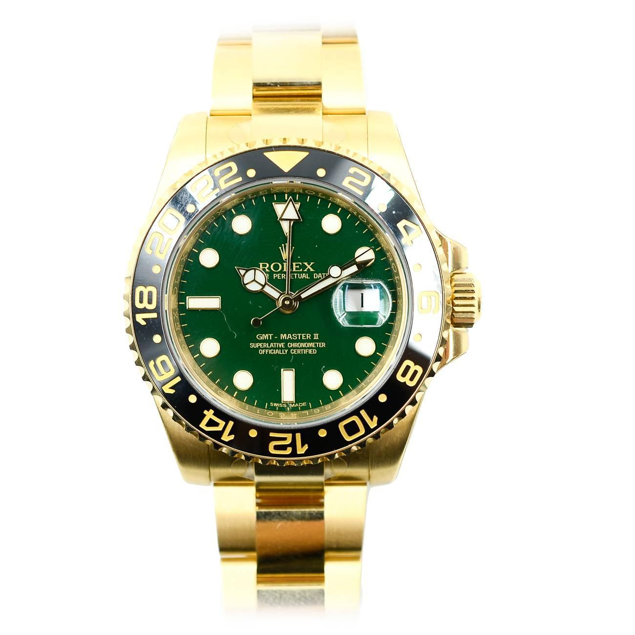 Rolex Yellow Gold GMT Master II Green Index Dial Oyster ...