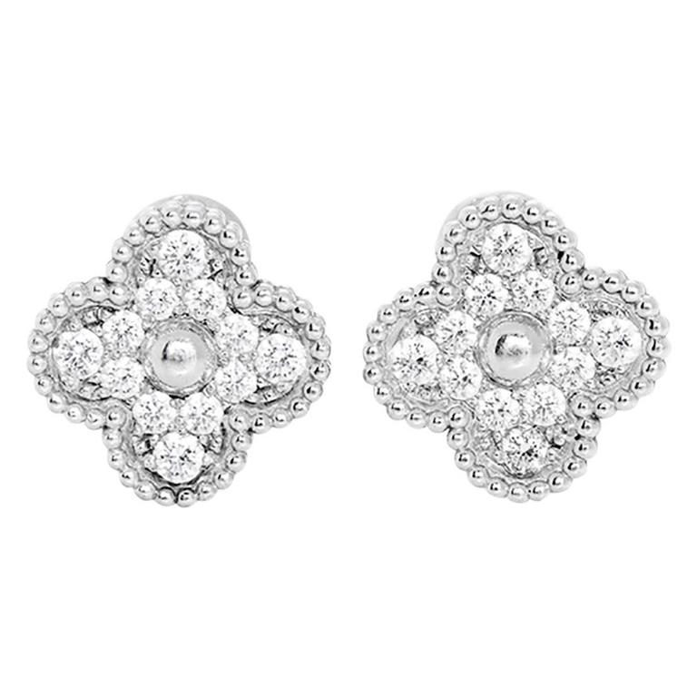 Van Cleef Arpels Vintage Alhambra Pave Diamond Gold Earrings For