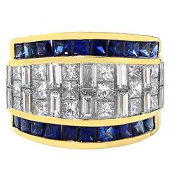 3.25 Carat Sapphire Diamond Gold Band Ring