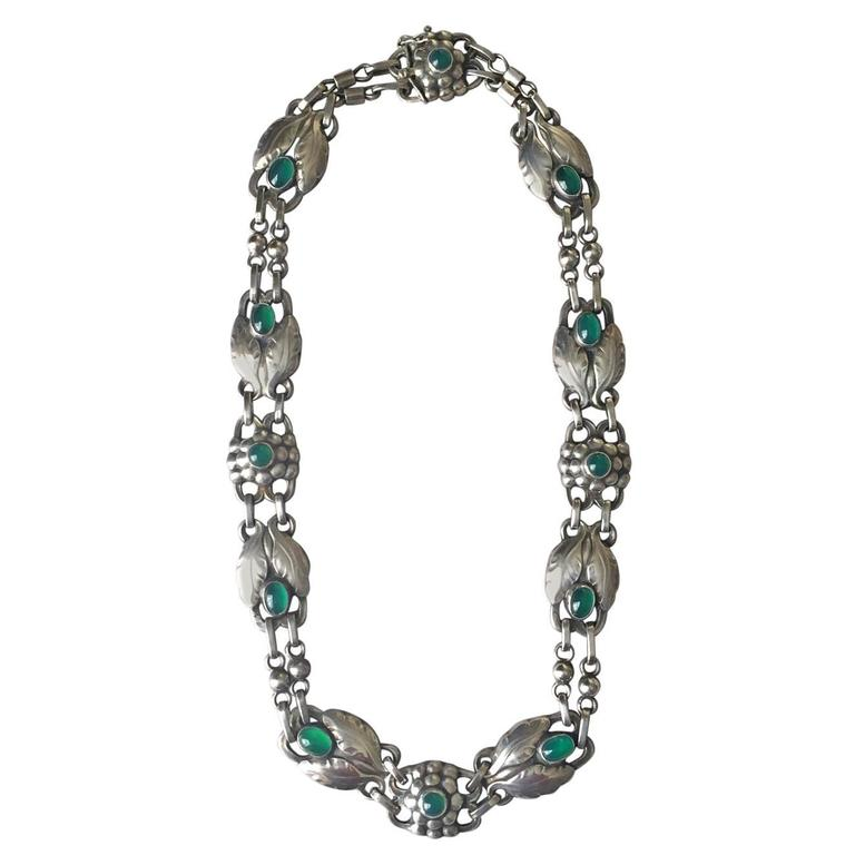 Georg Jensen 830 Silver Necklace No. 1 with Green Chrysoprase For Sale