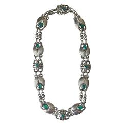 Georg Jensen 830 Silver Necklace No. 1 with Green Chrysoprase
