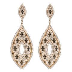 Black and White Diamond Gold Dangle Earrings