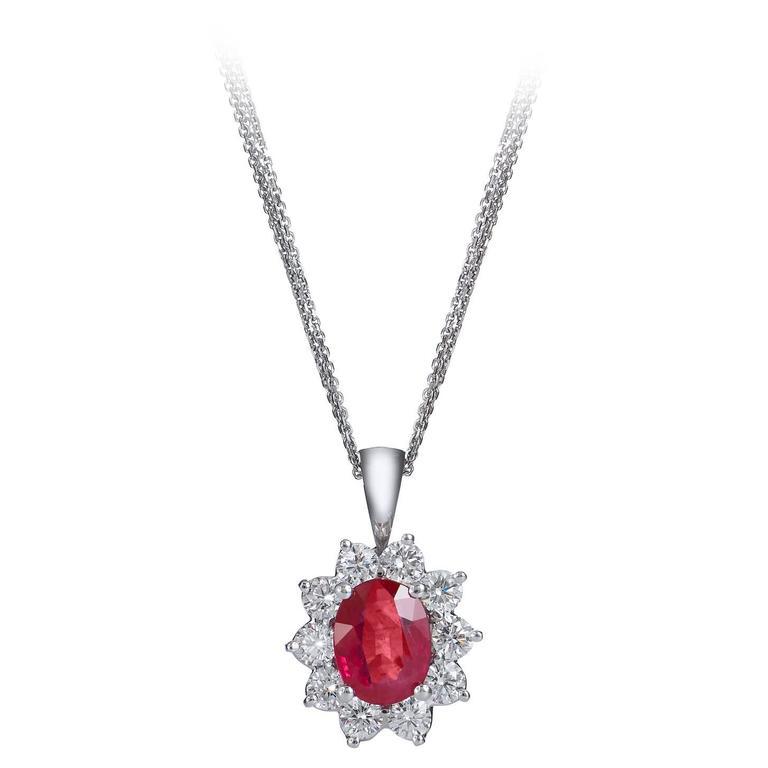 1.57 Carat Burma Ruby Diamond Gold Pendant For Sale