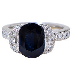Vivid Diamonds GIA Certified 2.71 Carat Sapphire Platinum Ring