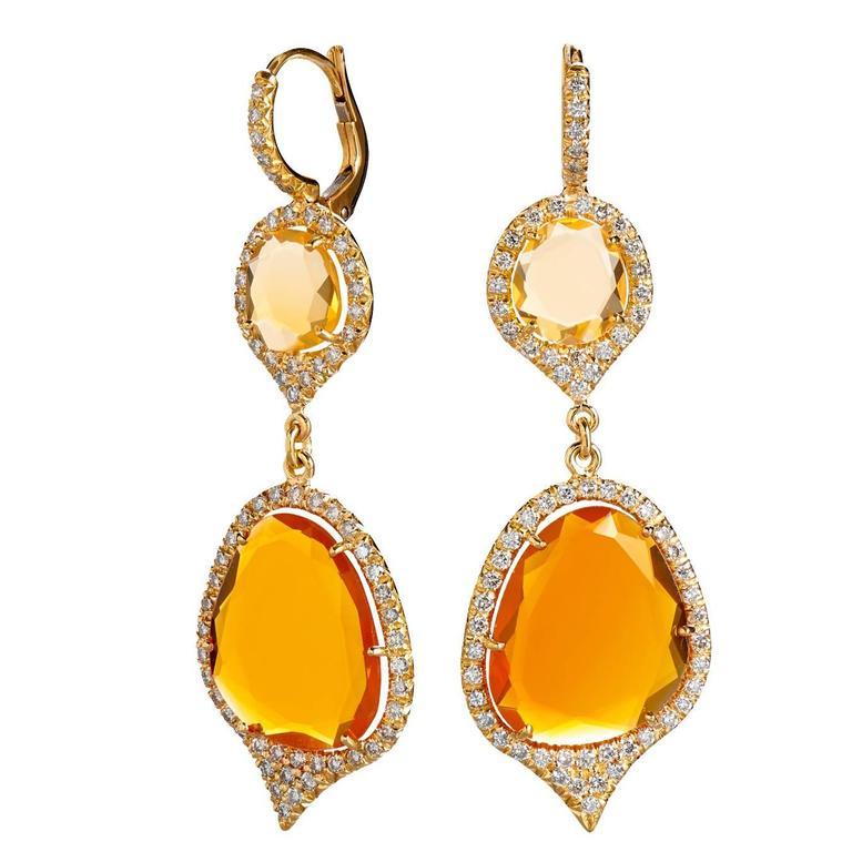 Fire Opal Diamond gold Drop Earrings at 1stdibs