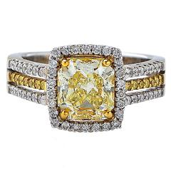 2.03 Carat Natural Light Yellow Diamond Gold Ring
