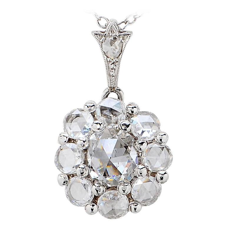 2.25 Carat Rose Cut Diamond Platinum Pendant For Sale