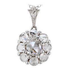 2.25 Carat Rose Cut Diamond Platinum Pendant