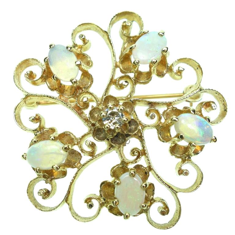 Opal Diamond Gold Scroll Brooch Pendant