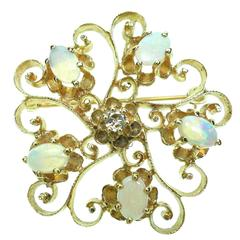 Opal Diamond Gold Scroll Brooch Pendant