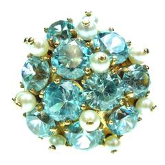 1930s Blue Zircon Pearl Gold Ring